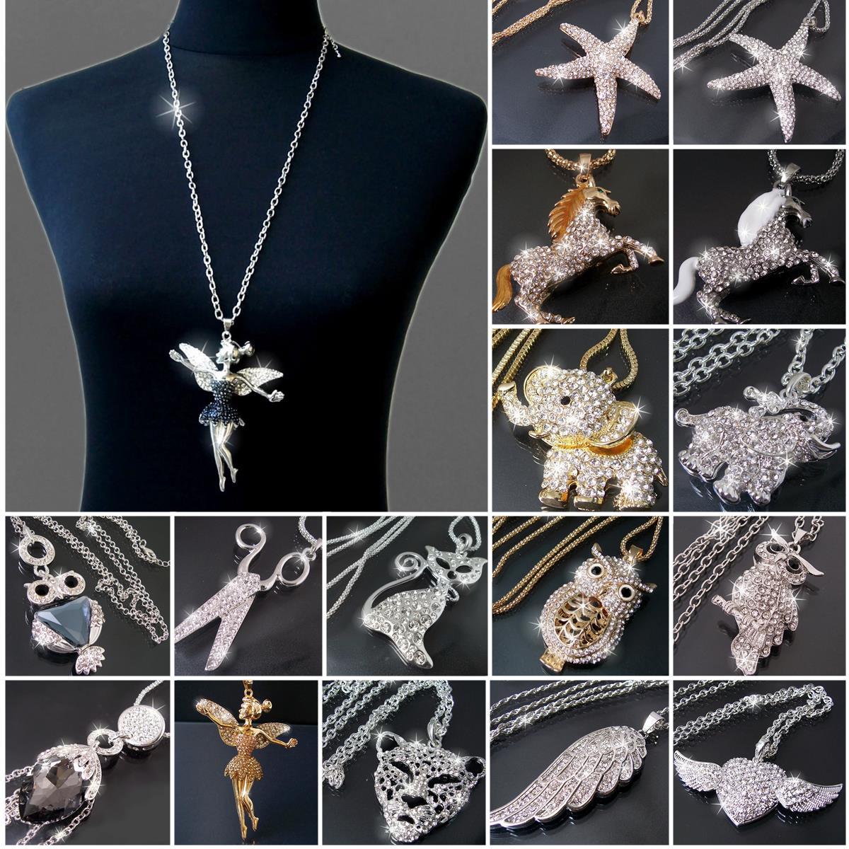 Modeschmuck kette  Lange Halskette Kette Silber Gold mit Anhänger Strass Zirkonia ...