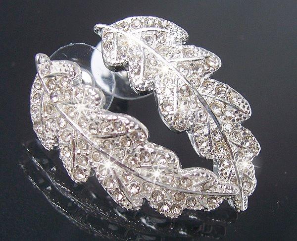 Modeschmuck silber ohrringe  Ohrringe Blatt Silber Strass Modeschmuck Ohrstecker NEU