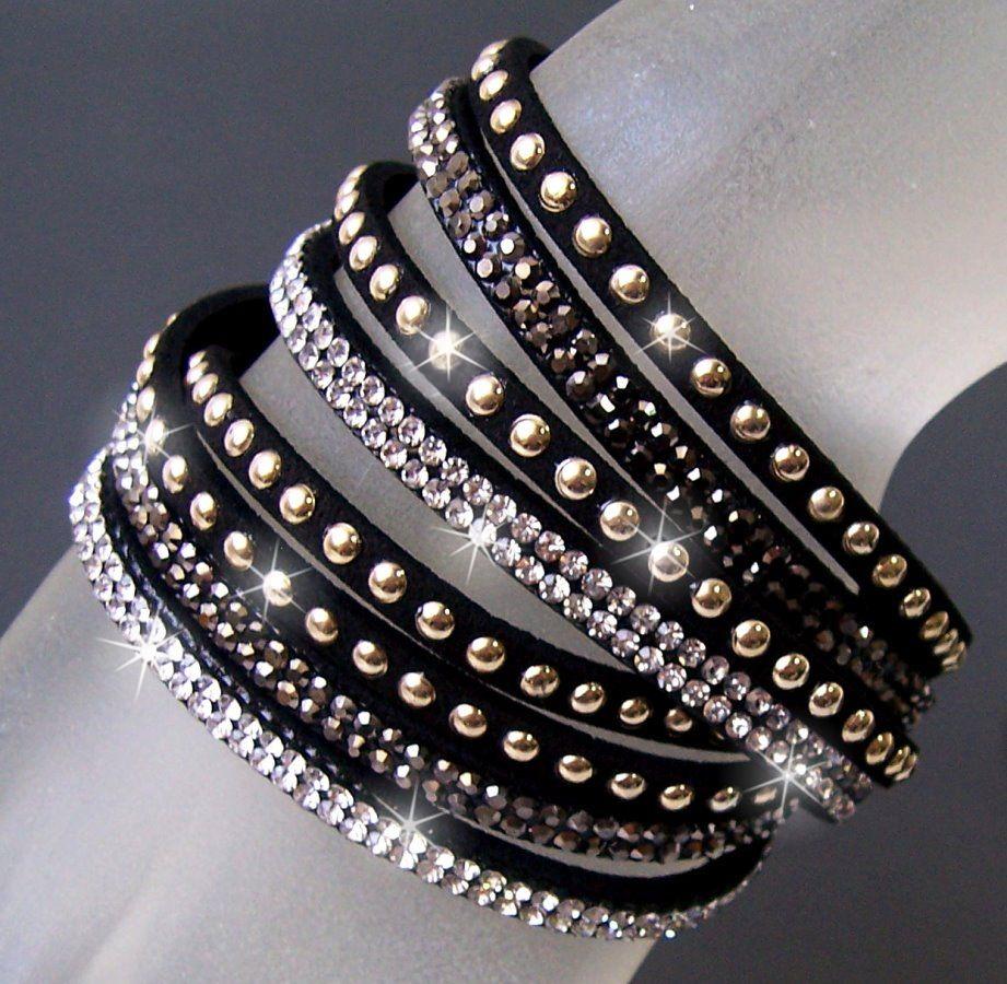 Modeschmuck armband  Wickelarmband LederLook Strass Damen Armband Strassarmband ...