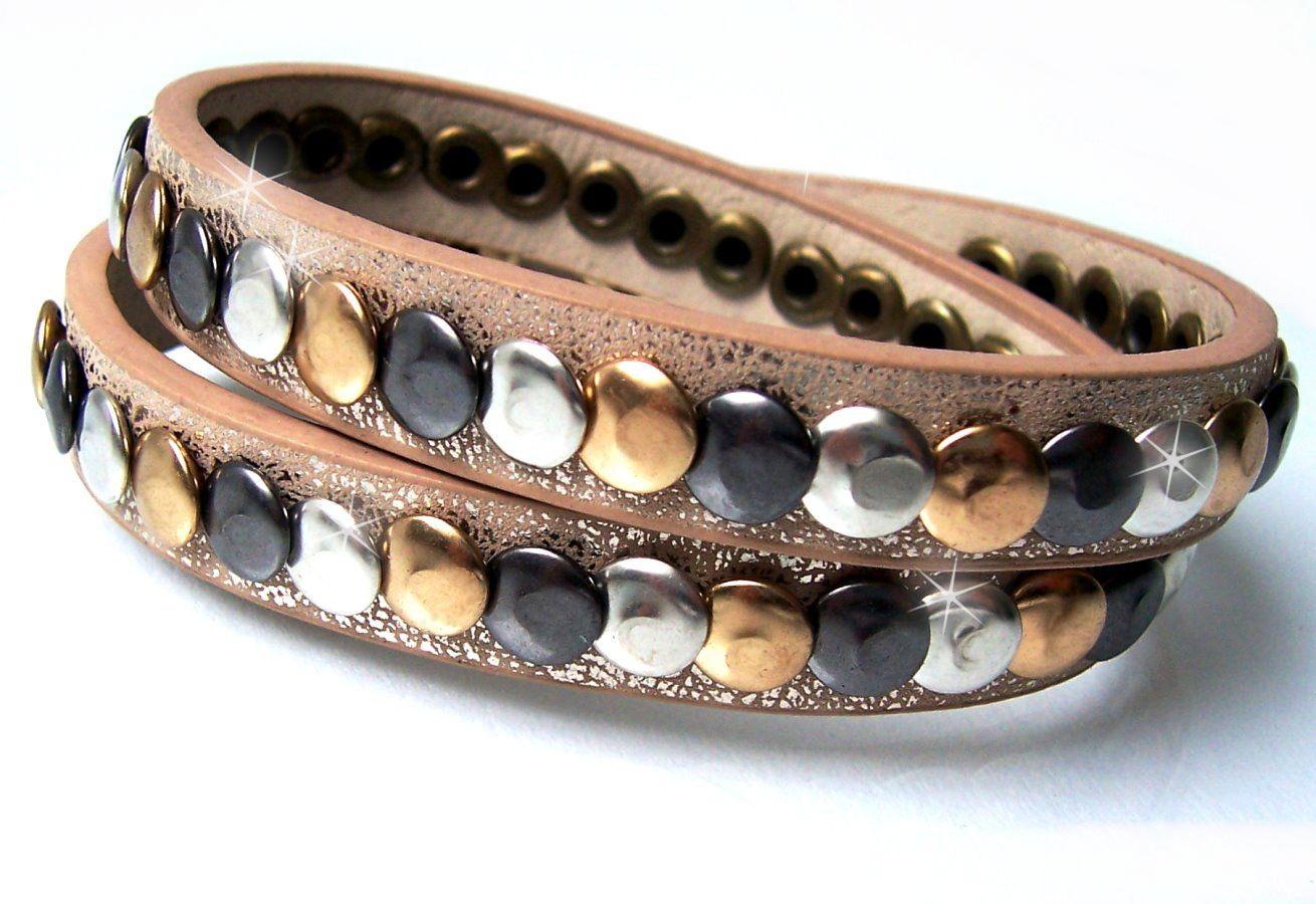 Strass-Armband Wickelarmband Leder-Look Stiefelband mit Nieten Geflochten Neu