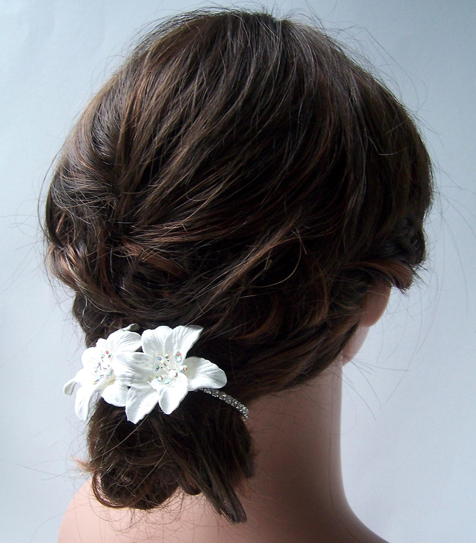 Schmuck Armreif Haarschmuck weiß Blumen Mädchen Braut Kommunion Hochzeit A5050B*