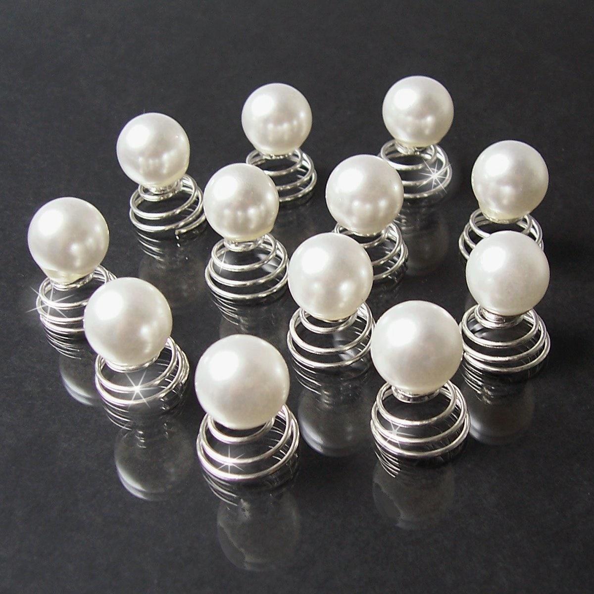 H2642# Curlies Perle weiss 12mm 12 stk Haarschmuck neu