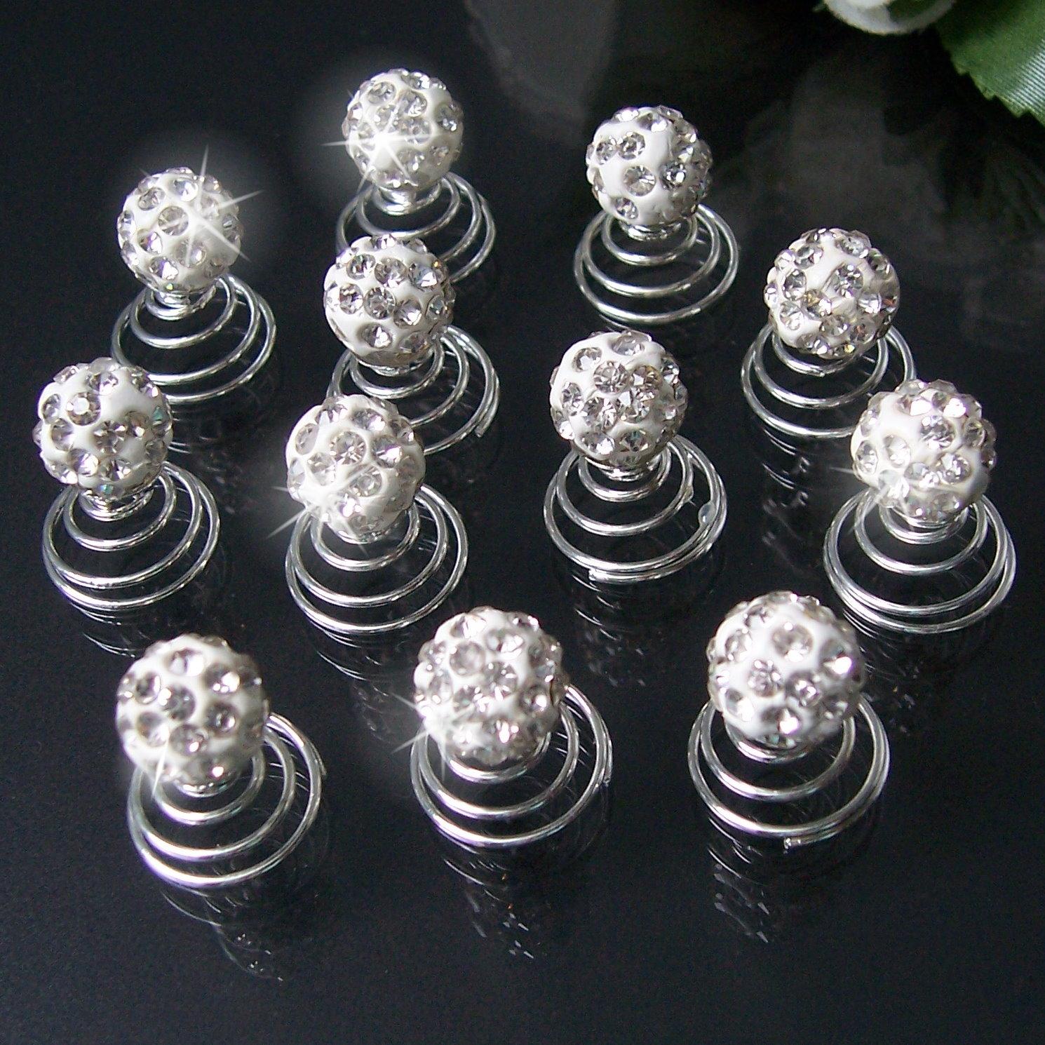 Curlies 12 Stück Perle Shamballa 10mm Strass klar Haarschmuck H5122B