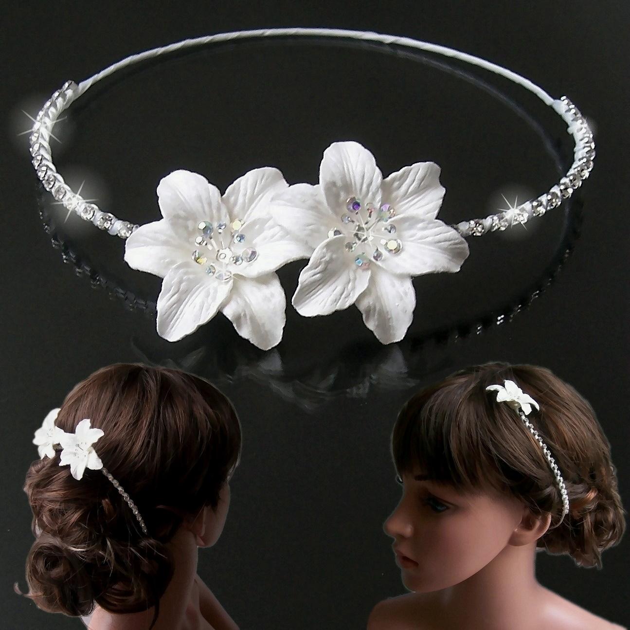 Haarreif Braut weiß 2 Blumen Strass Kommunion Blumenmädchen H5155