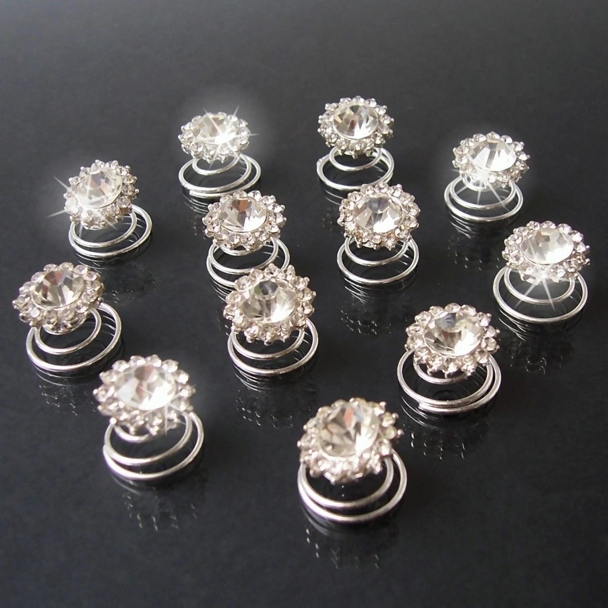 Curlies 12 Stück Blume Strass klar 15mm Haarschmuck Hochzeit H1800