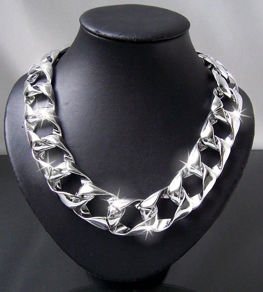 Modeschmuck kette silber  Statement Halskette Ketten Collier Armband Blogger chunky ...