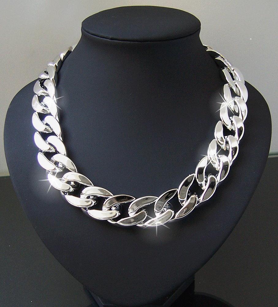 COLLANA CATENA Statement 3 pezzi ornamenti da donna perle e strass occupato