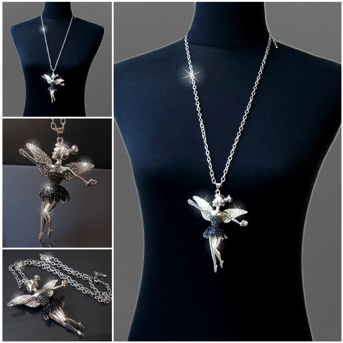 Lange Halskette Kette Silber Gold mit Anhänger Strass