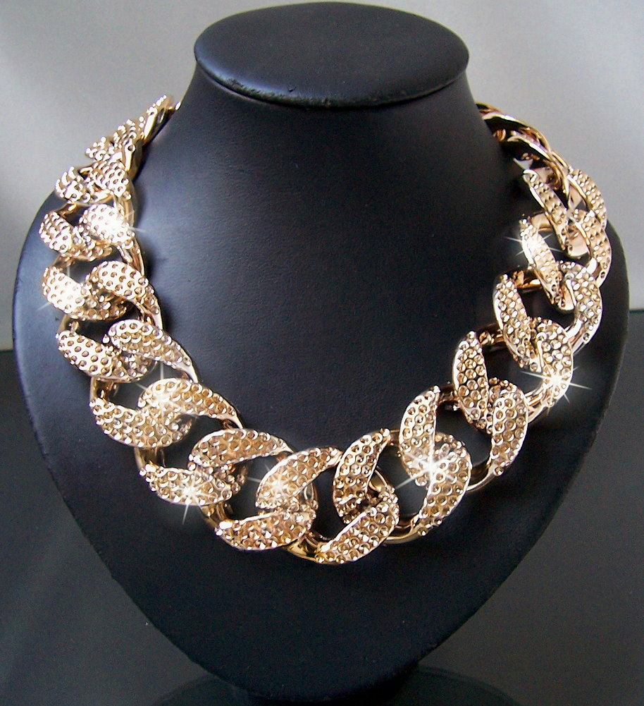 Modeschmuck gold kette  Statement Kette Halskette Collier Armband Blogger chunky ...