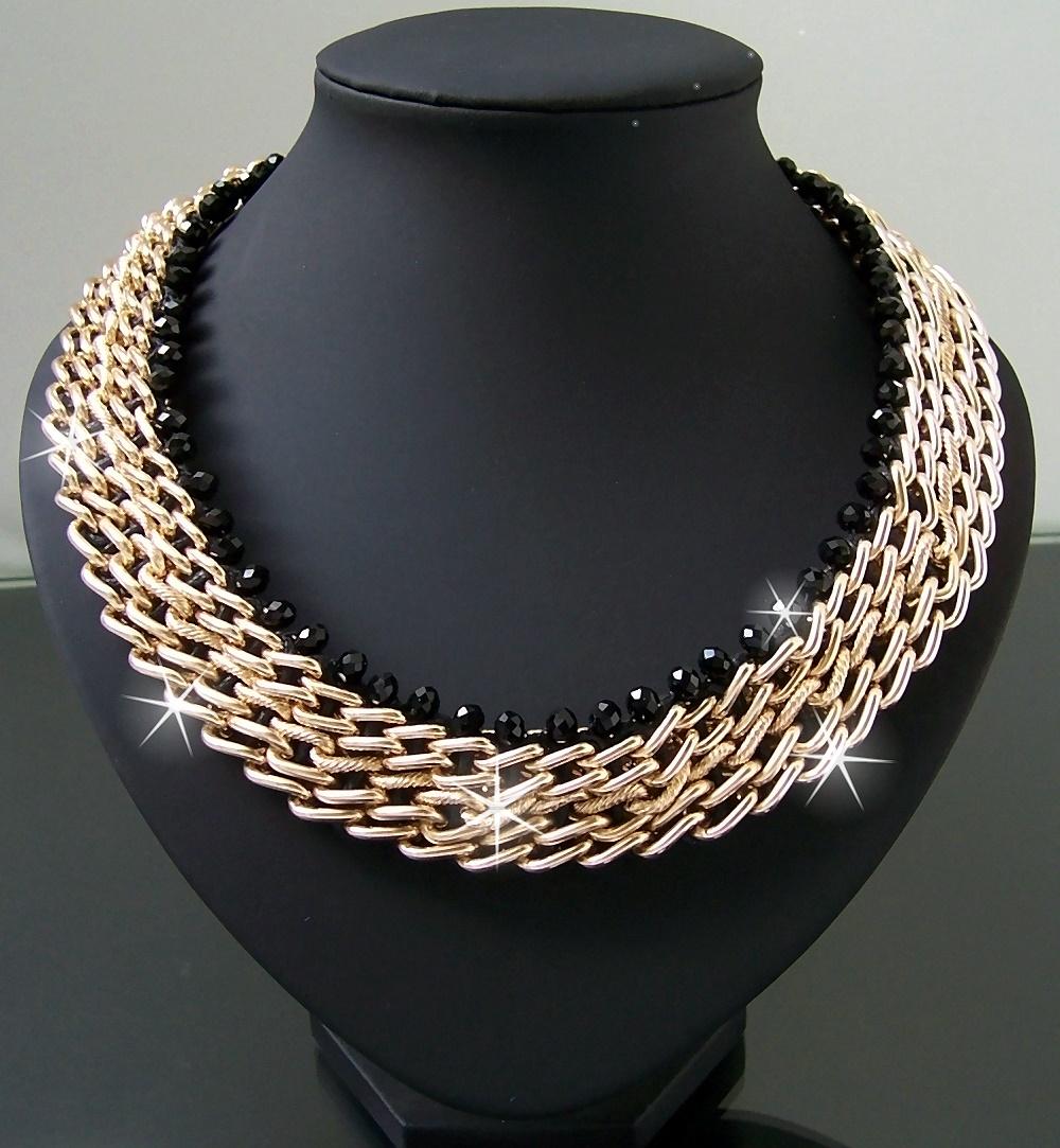 Modeschmuck gold kette  Statement Halskette Ketten Collier Armband Blogger chunky ...