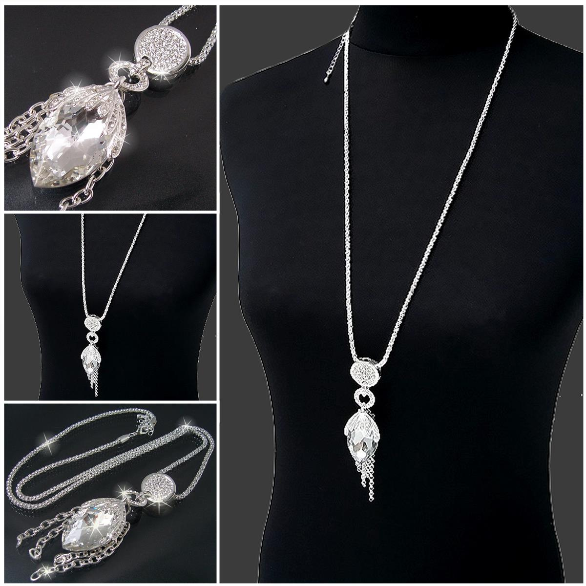 Lange ketten  Lange Halskette Kette Silber Gold mit Anhänger Strass Zirkonia ...
