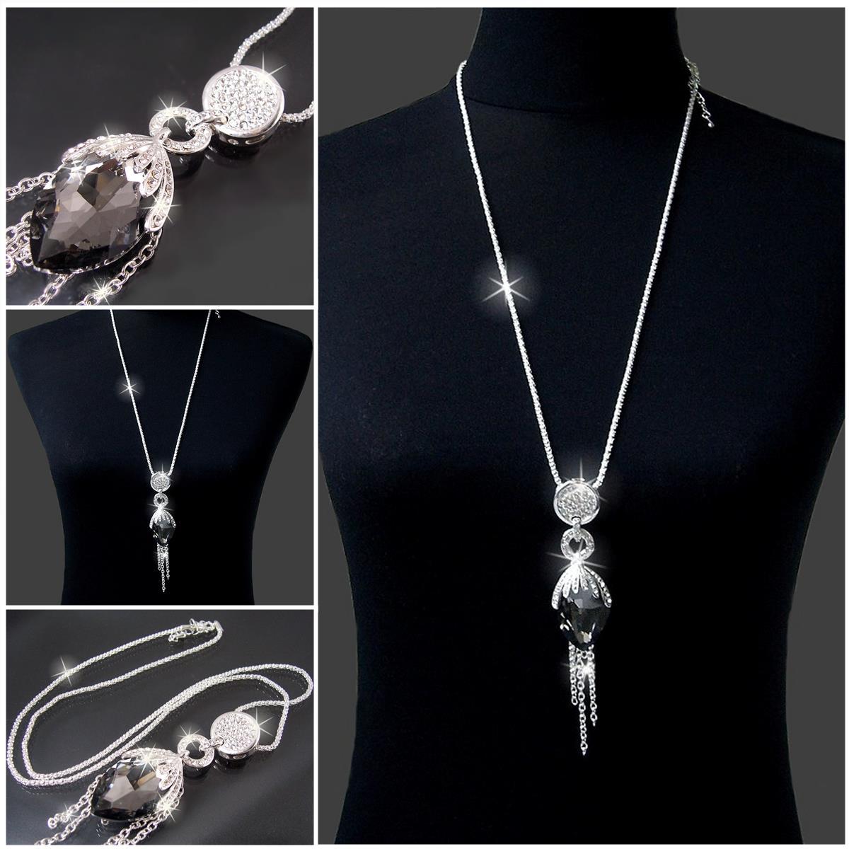 Modeschmuck kette silber  xxl Halskette Silber Kette mit Anhänger Strass Zirkonia Mode ...