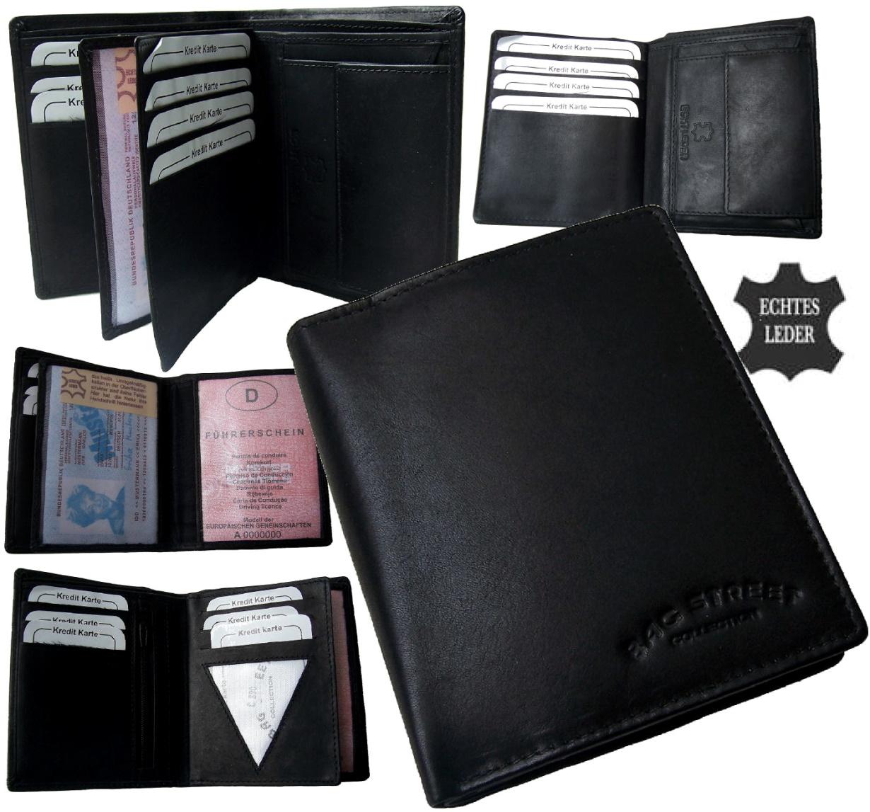 15b195f196f86e Po1633* Herren Portemonnaie schwarz echt Leder Geldbörse neu