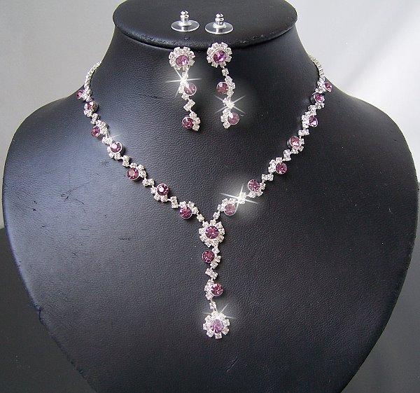 Schmuckset Collier Kette Ohrringe Set Silber Strass Violett Schmuck Party S1481*