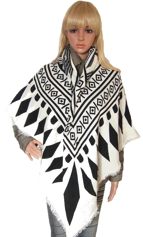 t7012 schal tuch winter winterschal poncho cape schwarz wollweiss blogger. Black Bedroom Furniture Sets. Home Design Ideas