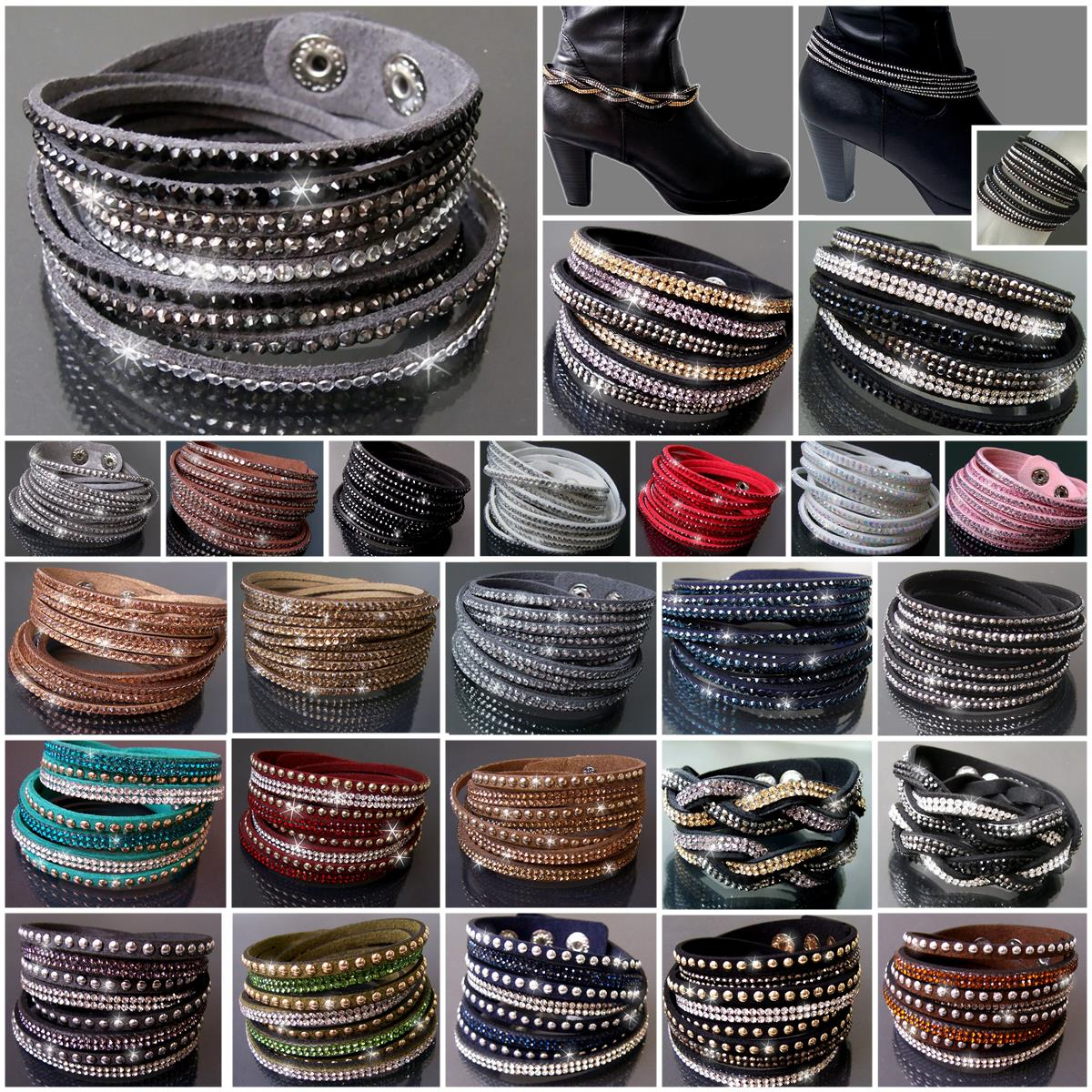 VA22* 12-reihiges Wickelarmband LederLook Strass