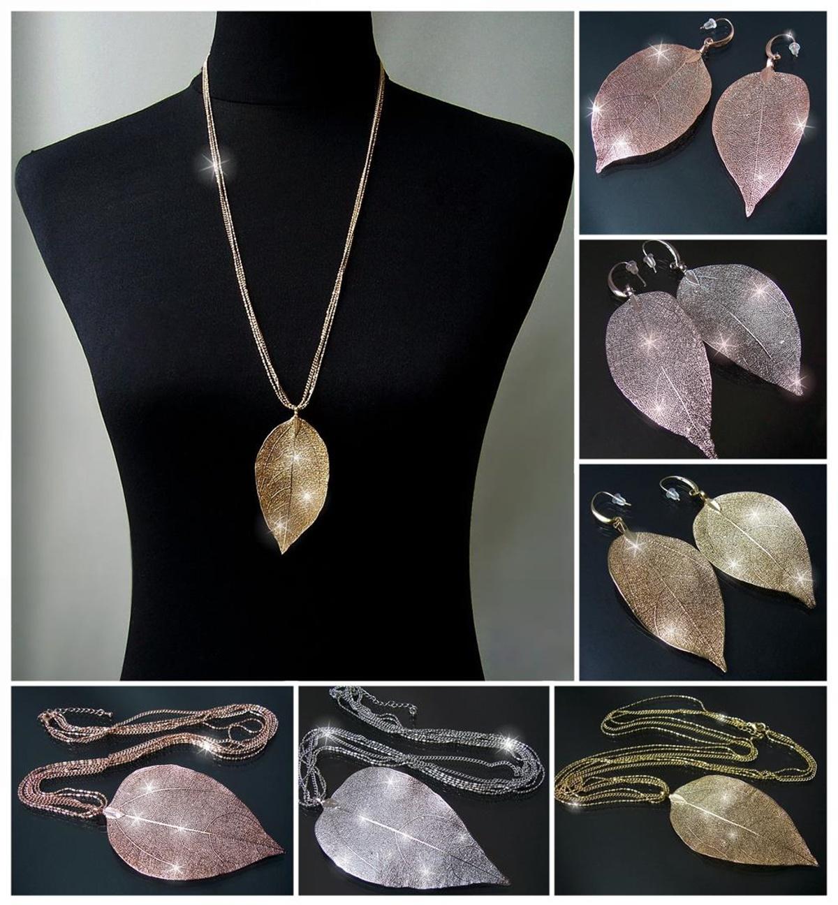 VS15* Halskette lange Ketten & Ohrringe Anhänger Blatt