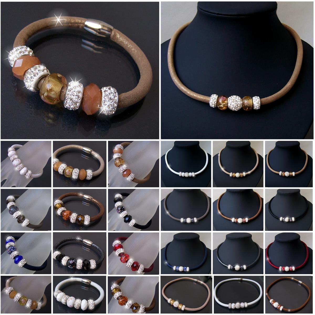 VS17# Collier Armband Schmuckset Satin Glitzerstoff Shamballa Perlen