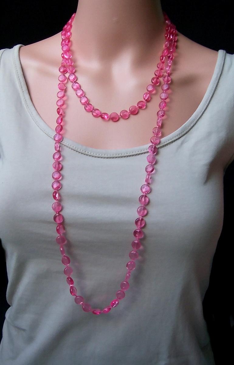 z279 perlenkette lang pink statement kette wickelkette halskette armband schmuck. Black Bedroom Furniture Sets. Home Design Ideas